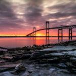 Claiborne Pell Newport Bridge - Peeking Sun